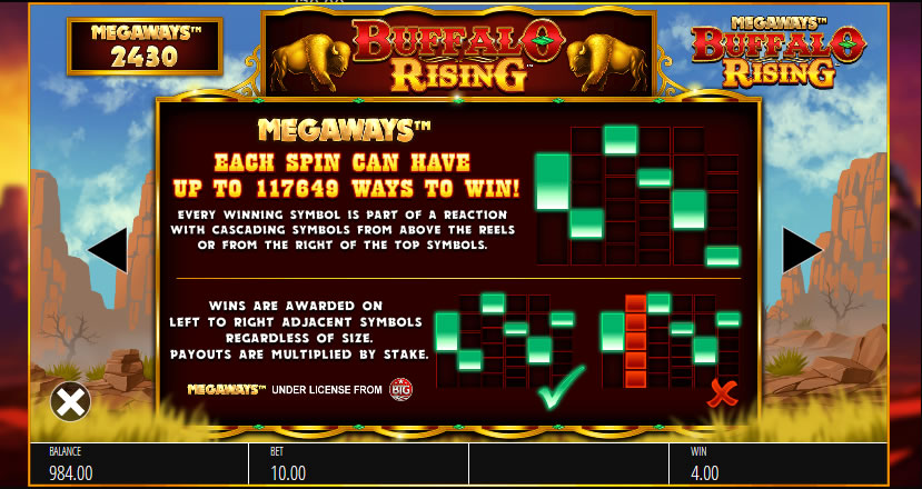 Buffalo rising megaways winlijnen tabel