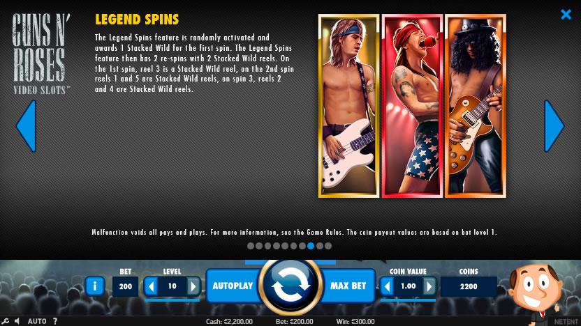 Guns 'N Roses videoslot screenshot legend spins