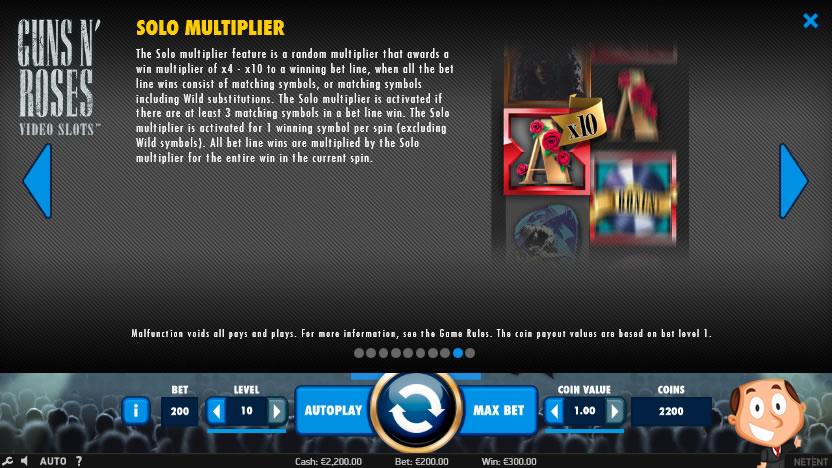 Guns 'N Roses videoslot screenshot solo multiplier