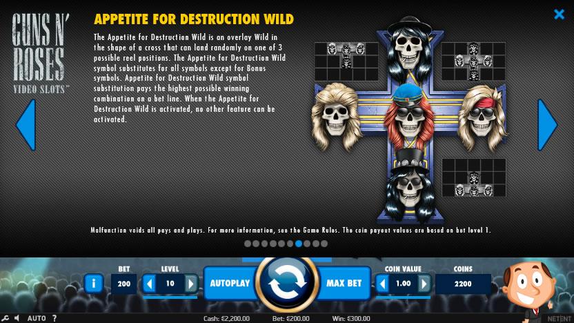 Guns n Roses videoslot wild destruction uitleg