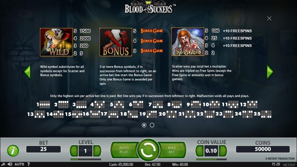 bloodsuckers videoslot symbolen
