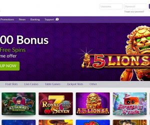 Omnislots casino screenshot home pagina