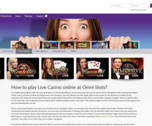 Omnislots casino screenshot live casino pagina