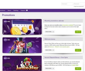 Omnislots casino screenshot promotie pagina