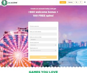 Sir JAckpot casino registratie pagina