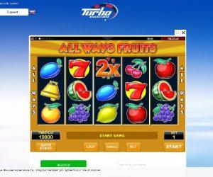 Turbo casino videoslots screenshot